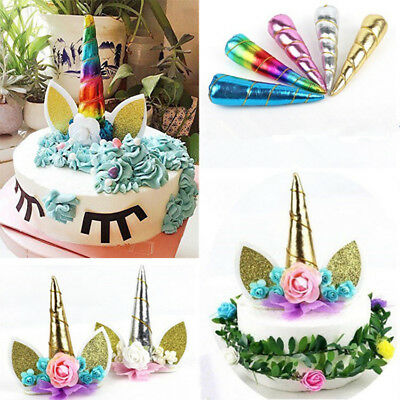 Unicorn Birthday Cake Decor Topper Cute Horn Ears Flower Party Ornament Prop New