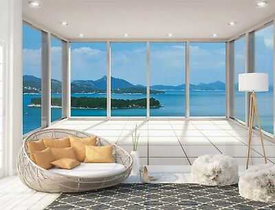 Wall Mural Photo Wallpaper Picture EASY-INSTALL Fleece 3D Terrace Sea View Image