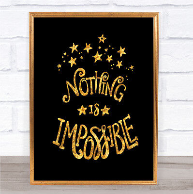 Impossible Unicorn Quote Print Black & Gold Wall Art Picture