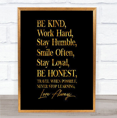 Be Kind Work Hard Quote Print Black & Gold Wall Art Picture
