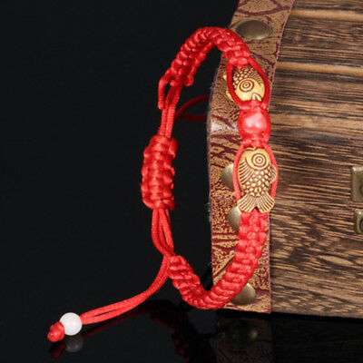 Chinese FengShui Red String Lucky Wooden Twin Fish Charm Bracelet for Wealth