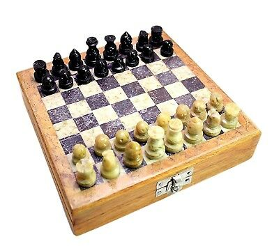 Classic Chess Inlaid Wood Board Game With Wooden Chess Set Marble Soft Stone 52