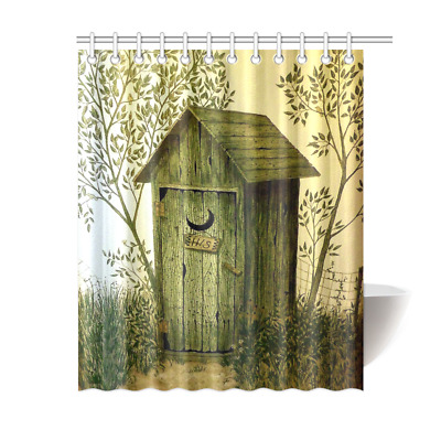 Outhouse Wooden House Bathroom Accessories Shower Curtain Bath