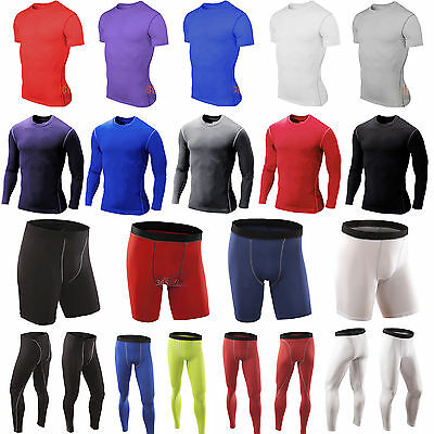 Men Compression Base Layer Tight Body Armour Thermal Skin T-Shirt Top Long Pants