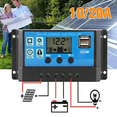 LCD Solar Panel Battery Regulator Charge Controller Dual USB 12v 24v 10A 20A UK