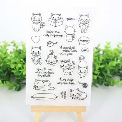 Decorative Clear Cat Transparent Stamp DIY Crafts Silicone Rubber Scrapbookin