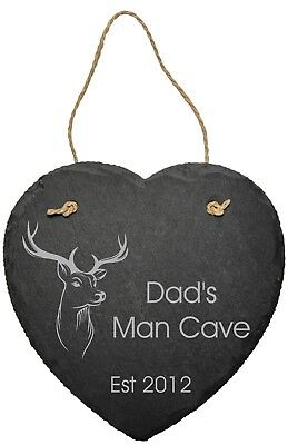 Personalised Stag Man Cave Slate Plaque Sign Dad Husband Shed Fathers Day Gift