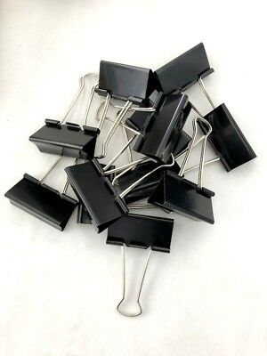 New 24pc Black Metal Binder Clips Paper Clip 51mm Office School Supply