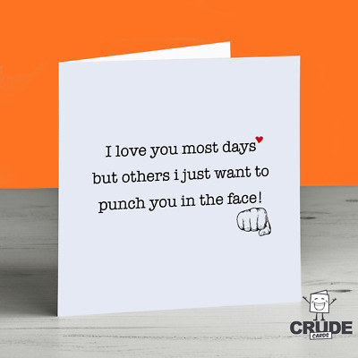 FUNNY BIRTHDAY CARD Anniversary Valentines Day Cute Love Crazy Boyfriend  Husband