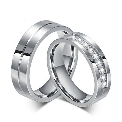 Trendy Wedding Bands Rings for Love Plated CZ Zirconia Stainless Steel Ring Gift