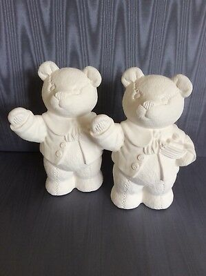 Large ceramic Teddy Bears to paint. Unpainted and unglazed ceramic figures.
