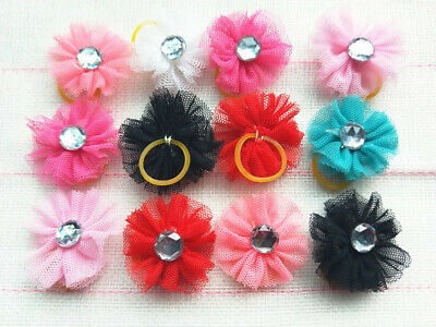 50pcs Dog Hair Bows Lace crystal Rubber Bands Pet  Hair Accessories Grooming