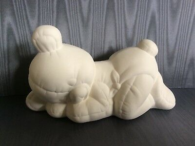 Large sleeping ceramic Teddy Bear to paint. unpainted and unglazed ceramics.