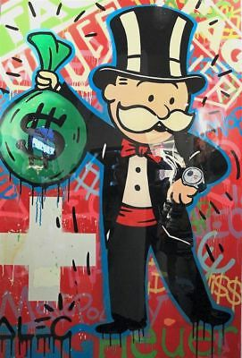 Alec Monopoly Graffiti Handcraft Oil Painting on Canvas, TAG   HEUER  24*32inch