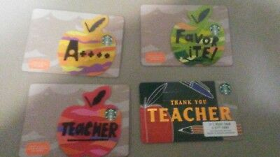 4 New Starbucks 2018 Teacher Gift Cards Set Apple Die Cut Shaped Limited
