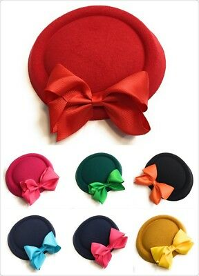 Big Bow Pillbox Wedding Hat Ladies Headpiece Felt Hatinator Fascinator Clips