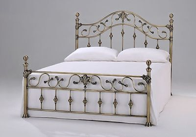 New Beautiful Double Brass Bed Frame Bedstead Brass Knobs + Ortho Mattress