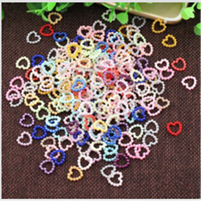 100-1000pcs Heart & Star Flat Back ABS Simulated Pearls Beads Phone Wedding Diy