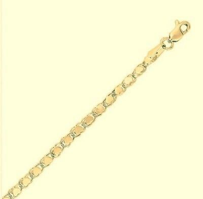 "Ladies New 14K Yellow Gold Heart Link Reversible Bracelet 7""  3.3 Mm: Lovely !"