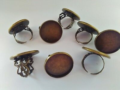 "5 Bronze Adjustable Ring Blanks Settings, Fits 25mm (1"") Cabochons Bezel Rings"