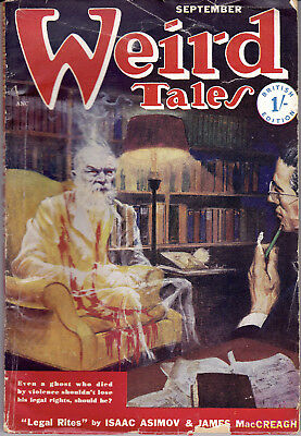 WEIRD TALES September 1950(Brit.Ed) Isaac Asimov, Robert Bloch  Hannes Bok