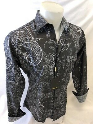 Mens PREMIERE Long Sleeve Button Down Dress Shirt COLORFUL Gray PAISLEY UNTUCKED