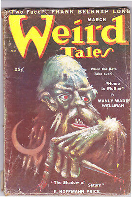 WEIRD TALES March 1950 Belknap Long, Clark Ashton Smith,  Hannes Bok