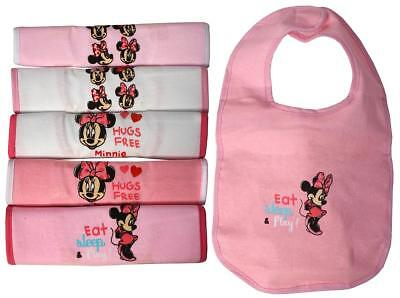 Baby Bibs 6 Value Pack MINNIE Mouse Pink Feeding Gift Baby Shower Disney
