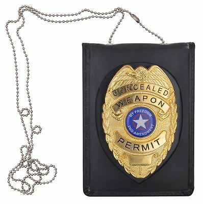 Police Officer Security Cop Badge ID Holder W/ Neck Chain Genuine Leather Wallet