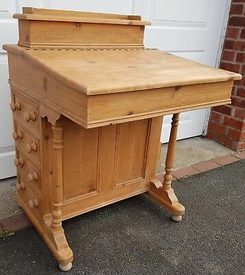 Antique pine writing desk with lid, drawers and letter rack