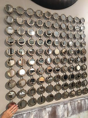 "New 40"" Contemporary Small Round Mirrors Forged Metal Frame Wall Art Mirror"
