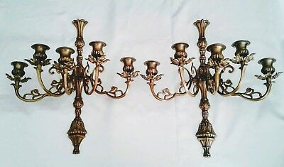 Classic Vintage Pair of Large Heavy Ornate Brass 5 Arm Wall Sconces Candelabras
