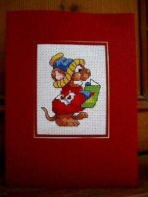 """Completed Cross Stitched Card 8""""x6"""" Singing Mouse (1)"""
