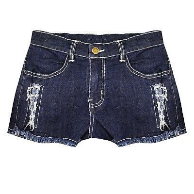 Ladies Ripped Vintage Waist Stretchy JEANS Denim SHORTS Sexy ICE Wash Hot Pants