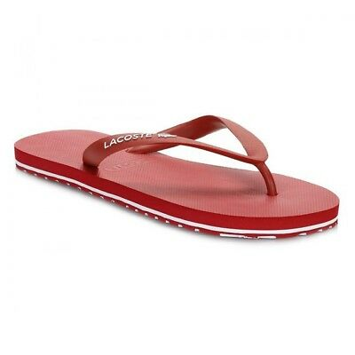 21372e1663ad7a LACOSTE NOSARA MENS Premium Designer Thong Flip Flops Holiday Sandals Red -  £14.99