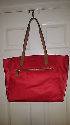 ace9974cf9 Michael Kors KELSEY 30F7G02T3C Nylon Bright Red LG TZ Trolley Sleeve Tote  NWT