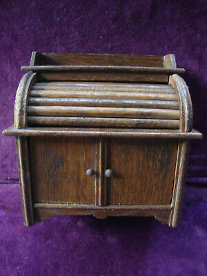 Very unusual antique oak minature roll top desk money box