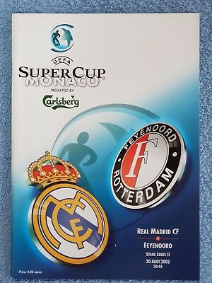 2002 - UEFA SUPER CUP FINAL PROGRAMME - REAL MADRID v FEYENOORD - V.G CONDITION