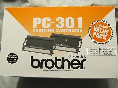 Brother PC-301 Printing Cartridge -  2 Pack - Black Fax 750 770 775 New