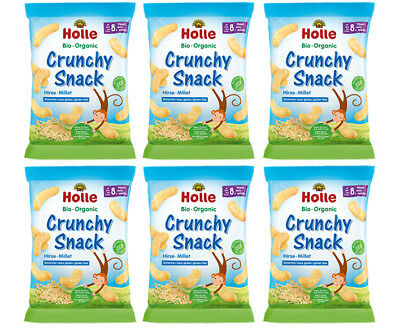 Holle Organic Crunchy Snack Puffs Millet - 6 PACKS