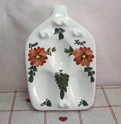 Unknown Vintage Babbacombe Pottery Toni Raymond 3 Spoon Rest Orange Flowers