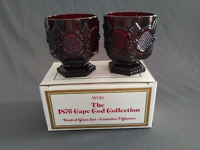 Avon Cape Cod Ruby Red Short Footed Glass Goblets in Original Box