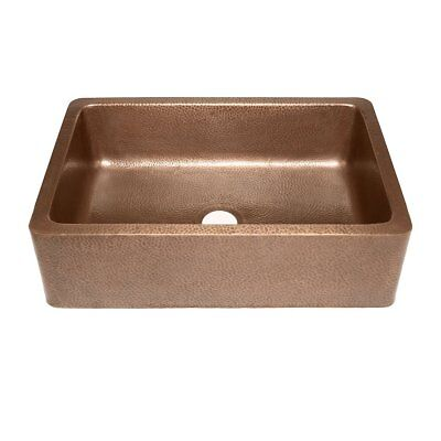 Adams Farmhouse Apron Front Handmade Copper Kitchen Sink 33 in. Single Bowl