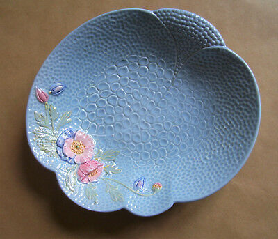 Vintage Melba Ware pale blue serving bowl with pink relief anemones 1940s 23cm