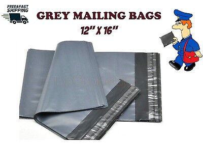 """50 GREY MAILING POLY POSTAL POST PARCEL PACKAGING BAG BAGS 12 x 16  -  12"""" x 16"""""""