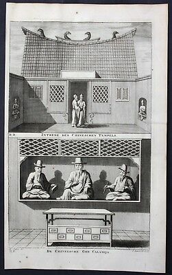 1726 Jakarta Indonesia God temple  map engraving fort Valentijn Asia carte 68193