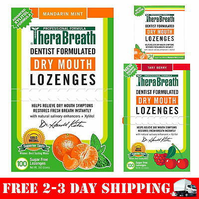 TheraBreath Dentist Formulated Dry Mouth Lozenges, Sugar Free, Mandarin Mint