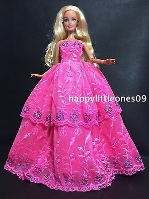 Embroidered Barbie Doll Wedding Party Evening Dress/Clothes/Outfit Hot Pink New