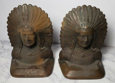 Antique Solid Bronze Indian Chief Bookends Old Amazing