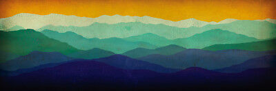 Yellow Sky Mountains by Ryan Fowler Art Paper, Canvas or Stretched Canvas